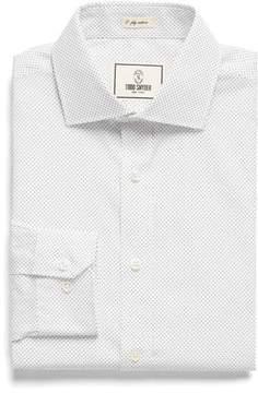 Todd Snyder White Label Spread Collar Dress Shirt in White Pindot
