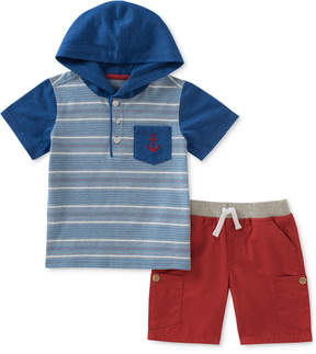 Kids Headquarters 2-Pc. Hooded Henley T-Shirt & Shorts Set, Little Boys