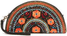 Mary Frances Viva La Noche Floral Embroidered Beaded Clutch