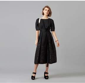 Amanda Wakeley   Black Organza Cloque Jacquard Midi Dress   Xl   Black