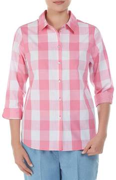 Allison Daley 3/4 Sleeves Button Front Checkered Shirt