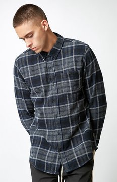 Ezekiel Nirvana Plaid Flannel Long Sleeve Button Up Shirt