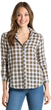 Bella Dahl Fray Hem Side Button Shirt-Vetiver-XS