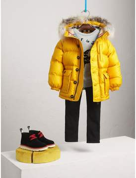 Burberry Detachable Fur Trim Hooded Down-filled Puffer Coat