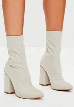 Missguided Nude Block Heel Pointed Neoprene Boots