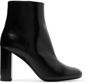 Saint Laurent Loulou Glossed-leather Ankle Boots - Black