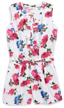 Kate Spade Kids Abby Floral Print Belted Romper with Ruffle Detail 12