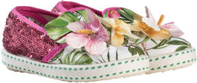 MonnaLisa Pink Floral and Sequin Print and Applique Slip Ons