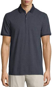 Neiman Marcus Mini-Floral Pique Polo Shirt