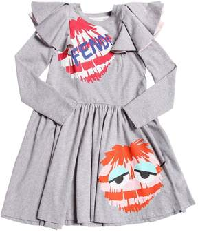 Fendi Pompom Printed Cotton Jersey Dress