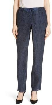 Emporio Armani Crinkled Cotton & Silk Pants