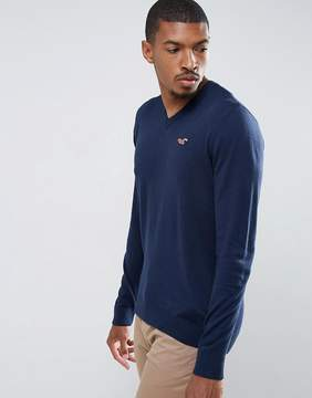 Hollister Chain Vneck Sweater Icon Logo in Navy Slub