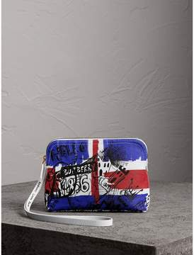 Burberry Large Zip-top Doodle Print Coated Canvas Pouch - RED/BLUE - STYLE