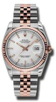 Rolex Oyster Perpetual Datejust 36 Silver Dial Stainless Steel and 18K Everose Gold Jubilee Bracelet Automatic Men's Watch