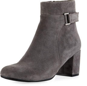 Neiman Marcus Zaza Suede Zip-Up Bootie, Gray