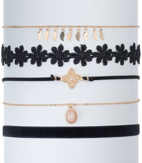 Mudd Flower, Quatrefoil & Velvet Choker Necklace Set