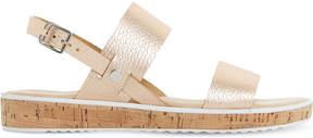 Dune Logo - cork sole flatform sandal