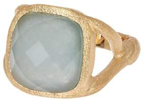 Rivka Friedman 18K Gold Clad Faceted Caribbean Blue Quartzite Satin Faceted Twisted Shank Ring