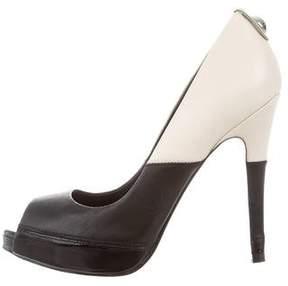 Karen Millen Leather Peep-Toe Pumps