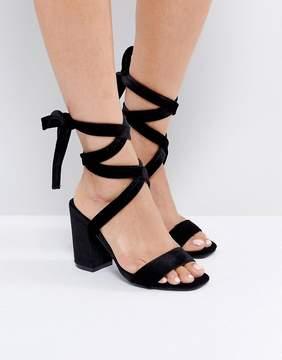 Park Lane Tie Ankle Block Velvet Heel Sandal