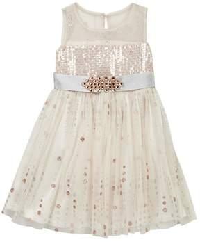 Iris & Ivy Illusion Bodice Glitter Stripe Dress (Little Girls)