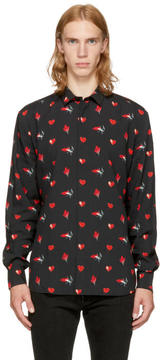 Saint Laurent Black and Red Heart Shirt