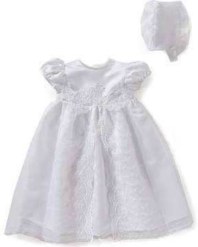 Edgehill Collection Baby Girls Newborn-12 Months Flower Christening Gown and Bonnet Set