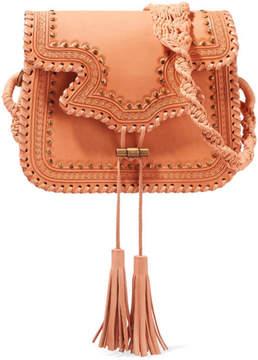Ulla Johnson Esti Macrame-Trimmed Studded Leather Shoulder Bag