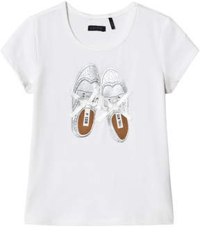 Ikks White Shoes Print and Ribbon Laces Tee