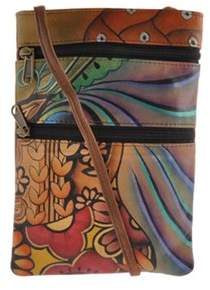 Anuschka Women's Mini Double Zip Travel Crossbody.
