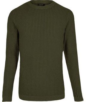 River Island Mens Dark green ribbed slim fit sweater
