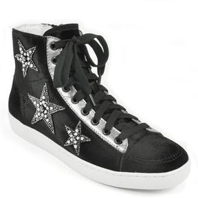 Lola Cruz 200T65BK - Embellished Star Velvet Sneaker