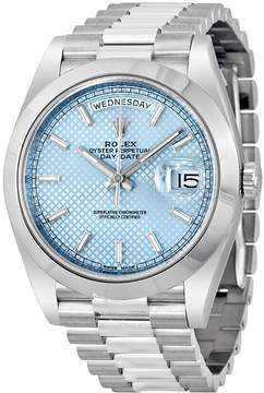 Rolex Day Date 40 Ice Blue Diagonal Motif Dial Platinum President Automatic Men's Watch IBLSP