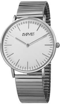 August Steiner Mens Silver Tone Strap Watch-As-8216ss