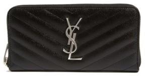 Saint Laurent Women's 'Monogram' Zip Around Quilted Calfskin Leather Wallet - Black - BLACK - STYLE