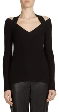 Cédric Charlier Ribbed Cold-Shoulder Sweater
