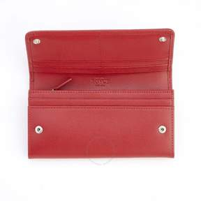 Royce Leather Royce Red RFID Blocking Saffiano Bow Clutch Wallet