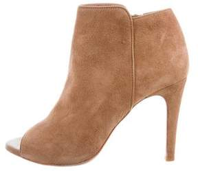 Joie Suede Peep-Toe Ankle Boots