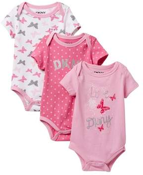 DKNY NYC Mixed Pattern Assorted Bodysuits - Set of 3 (Baby Girls 0-9M)