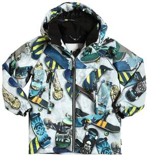 Molo Skateboard Print Hooded Nylon Ski Jacket