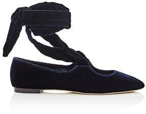 The Row Women's Velvet Ankle-Tie Flats