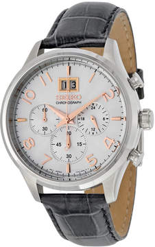 Seiko Silver Dial Chronograph Gray Leather Men's Watch SPC087