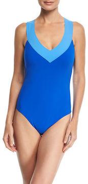 LaBlanca La Blanca Bondage V-Neck Colorblock One-Piece Swimsuit