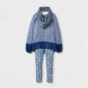 Self Esteem Girls' Long Sleeve Scarf Top - Blue