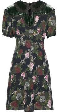 Anna Sui Cutout Velvet-Paneled Floral-Print Silk Dress