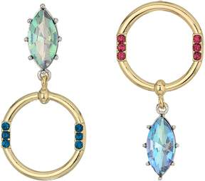 Betsey Johnson Stone and Hoop Non-Matching Earrings Earring