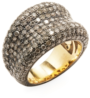 Artisan Women's 14K Yellow Gold, Silver & 2.94 Total Ct. Pave Diamond Concave Band Ring