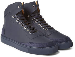 Harry's of London Mr. Jones Suede-Panelled Leather High-Top Sneakers