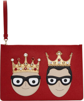 Dolce & Gabbana Red Crowned Logo Pouch - RED - STYLE