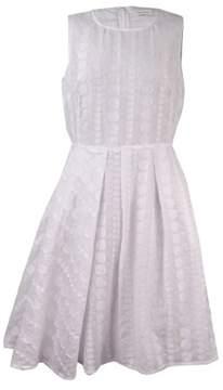 Calvin Klein Women's Dotted Textured Pocket Dress (4, White)